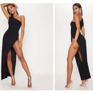 PLT Black Extreme Split Maxi Dress